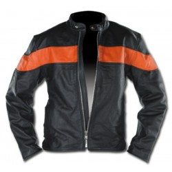 Fitted LEATHER JACKET WITH ORANGE MAN BAND CUSTOM CHROME