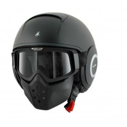 CASCO JET SHARK RAW NEGRO MATE