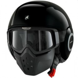 CASCO JET SHARK RAW NEGRO BRILLO