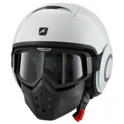 CASCO JET SHARK RAW BLANCO BRILLO