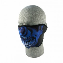 NEOPRENE MASK BLUE CHROME SKULL