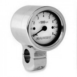 Tachometer WHITE CHROME HANDLE 1 1/2 ""