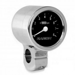 Tachometer BLACK CHROME HANDLE 1 1/2 ""