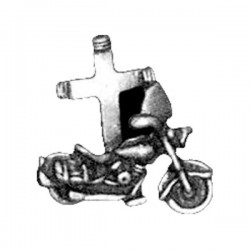 PIN MOTORCYCLE WITH CROSS