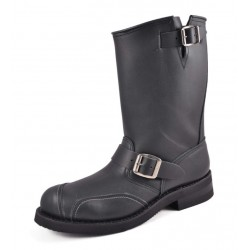 CRAZY OLD LEATHER BIKER BOOTS BLACK MOD 1592-6