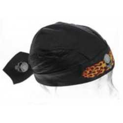 ALEX ORIGINALS LEATHER SKULL BANDANA FLAME