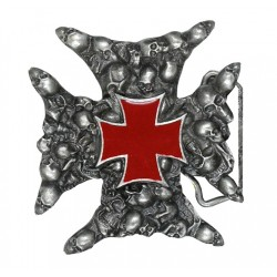 IRON CROSS BELT BUCKLE WITH SKULLS (OUTLET)