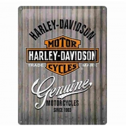 PLACA GARAJE HARLEY DAVIDSON GRAY STRIPES