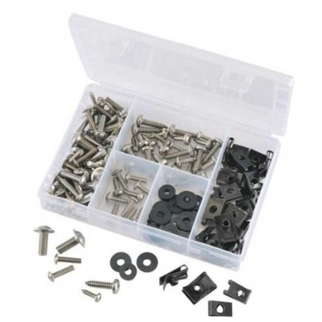 ASSORTMENT OF SCREWS, PRESSURE NUTS AND WASHERS 147 PIECES