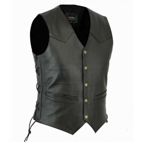 CLASSIC LEATHER VEST WITH SIDE LACES