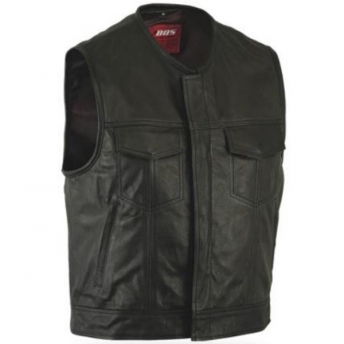 LEATHER VEST WITHOUT COLLAR