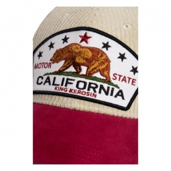 KING KEROSIN CALIFORNIA CORD TRUCKER CAP BEIGE/RED